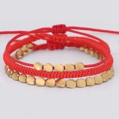 3 Pieces/Set Red Handmade Gold Brass Adjustable Bracelet Set Wholesale Red