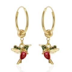 Hummingbird Bird Ear Hoop Earrings Jewelry red