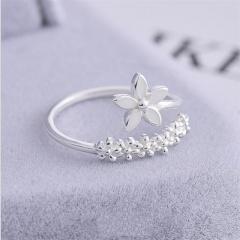 Brass Silver Plated Open Flower Rings fow Women flower