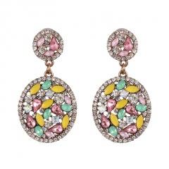 Fashion Full Diamond Round Dangle Earrings white