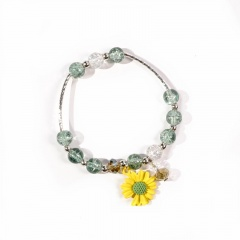 Beaded Daisy Flower Elastic Bracelet Wholesale yellow