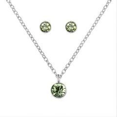 Silver Crystal Stud Earrings Short Necklace Jewelry Set green