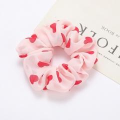 Simple Heart Polka Dot Chiffon Large Intestine Hair Tie white & pink