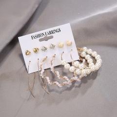 6 Pairs/set Gold Pearl Circle Dangle Earrings Set Wholesale style 1