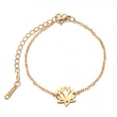 Flower Stainless Steel Chain Bracelets for Women gold