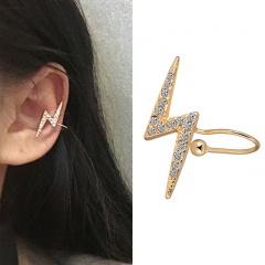 Diamond Lightning Ear Buckle Ear Bone Clip Earrings gold
