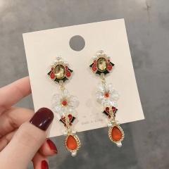 S925 Silver Needle Post Retro Peking Opera Mask Stud Earrings flower
