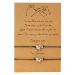 2 Pieces/Card Black Rope Adjustable Couple Bracelets elephant