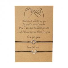 2 Pieces/Card Black Rope Adjustable Couple Bracelets moon&sun