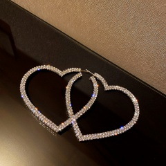 Golden Love Hollow Full Rhinestone Stud Earrings silver
