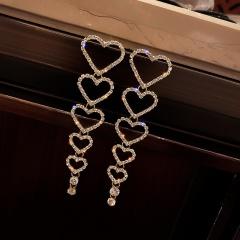 Long Heart Hollow Full Rhinestone Stud Earrings Gold