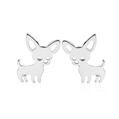 Fashion Simple Small Fox Stainless Stell Stud Earrings Wholesale silver