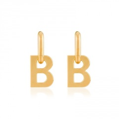 Fashion Stainless Steel Letter B Earring Wholesale gold