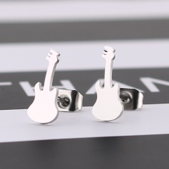Simple Guitar Musical Stainless Steel Stud Earrings silver