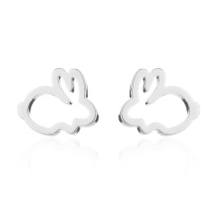 Fashion Rabbit Silver Stainless Steel Earring Wholesale silver