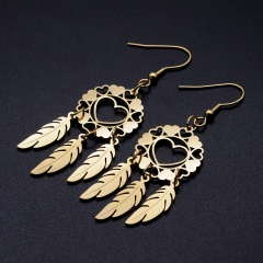 Dream Catcher Hollow Love Feather Ear Hook Earrings gold