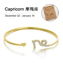 Gold 12 Constellation Diamond Open Bracelet Bangle with Card Capricon