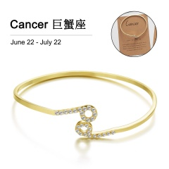 Gold 12 Constellation Diamond Open Bracelet Bangle with Card Cancer
