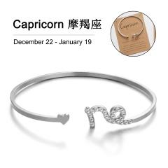 12 Constellation Silver Rhinestone Open Bracelet Bangle Wholesale Capricorn