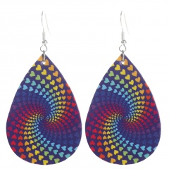 Multicolor Water Drop Leather Earrings Wholesale style 1