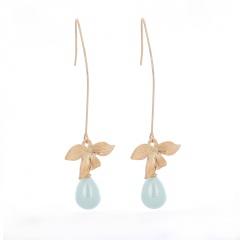 Water Drop Leaves Leaf Ear Hook Exaggerated Earrings gold