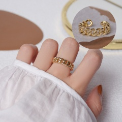 Simple Gold Chain Open Ring Wholesale #1