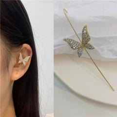 1 Piece Butterfly Zircon Piercing Ear Bone Clip Earrings style 1