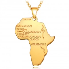 Stainless Steel Alphabet Africa Map Necklace gold