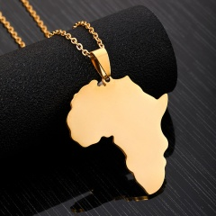 Stainless Steel Africa Map Clavicle Chain Necklace gold