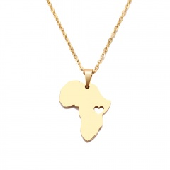 Stainless Steel Hollow Africa Map Clavicle Chain Necklace gold