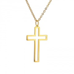 Stainless Steel Hollow Cross Pendant Clavicle Chain Necklace gold