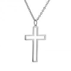 Stainless Steel Hollow Cross Pendant Clavicle Chain Necklace silver