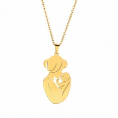 Mother Holds Child Thanksgiving Mother's Day Family Stainless Steel Pendant Necklace gold
