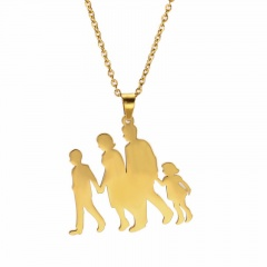 Thanksgiving Mothers Day Family Stainless Steel Pendant Necklace gold