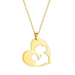Heart-Shaped Hollow Mother's Day Family Stainless Steel Pendant Necklace #2-gold