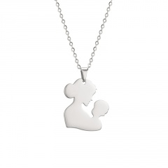 Heart-Shaped Hollow Mother's Day Family Stainless Steel Pendant Necklace #1-silver