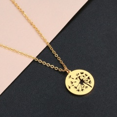 Hollow Dandelion Circle Stainless Steel Pendant Clavicle Chain Necklace gold