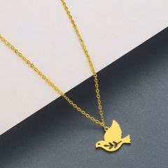 bird stainless steel pendant clavicle chain necklace gold