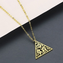 Triangle Hollow Flower Stainless Steel Pendant Clavicle Chain Necklace gold