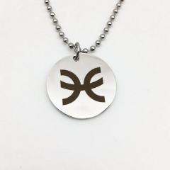 Twelve Constellation Circle Stainless Steel Pendant Necklace Pisces