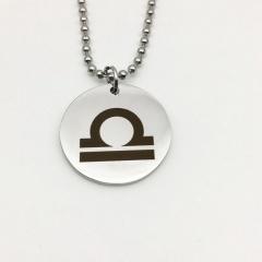 Twelve Constellation Circle Stainless Steel Pendant Necklace Libra