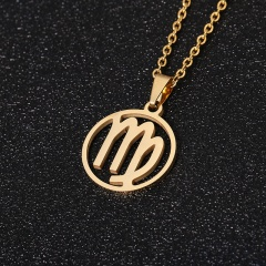 Gold 12 Constellation Circle Pendant Chain Necklace Jewelry Virgo