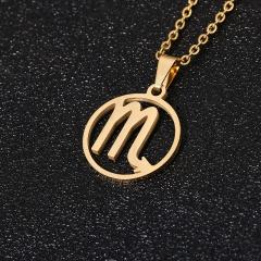 Gold 12 Constellation Circle Pendant Chain Necklace Jewelry Scorpio