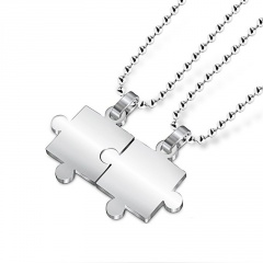 2 pieces silver couple pendant chain necklace jewelry 2 pieces