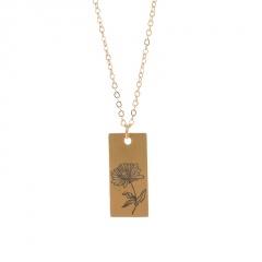 Rectangular month birthday flower stainless steel necklace November