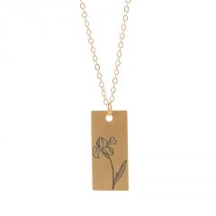 Rectangular month birthday flower stainless steel necklace February
