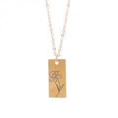 Rectangular month birthday flower stainless steel necklace March