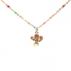 Colorful stainless steel inlaid zirconium five-pointed star clavicle chain necklace cactus