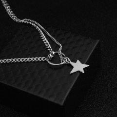Asymmetrical stainless steel chain necklace with five-pointed star star