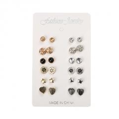12 pairs of geometric heart bee owl stud earrings set 12 pairs